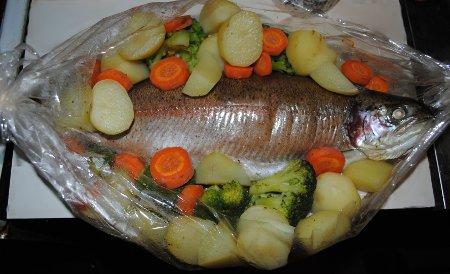 Рыба с овощами в рукаве рецепты с пошагово